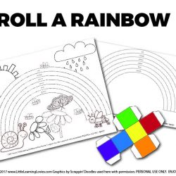 FREE for subscribers: Roll a Rainbow is fun for everyone. Great for preschoolers learning colors and for older children studying light and rainbows!