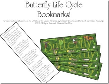ButterflyLifeCycleBookMarks