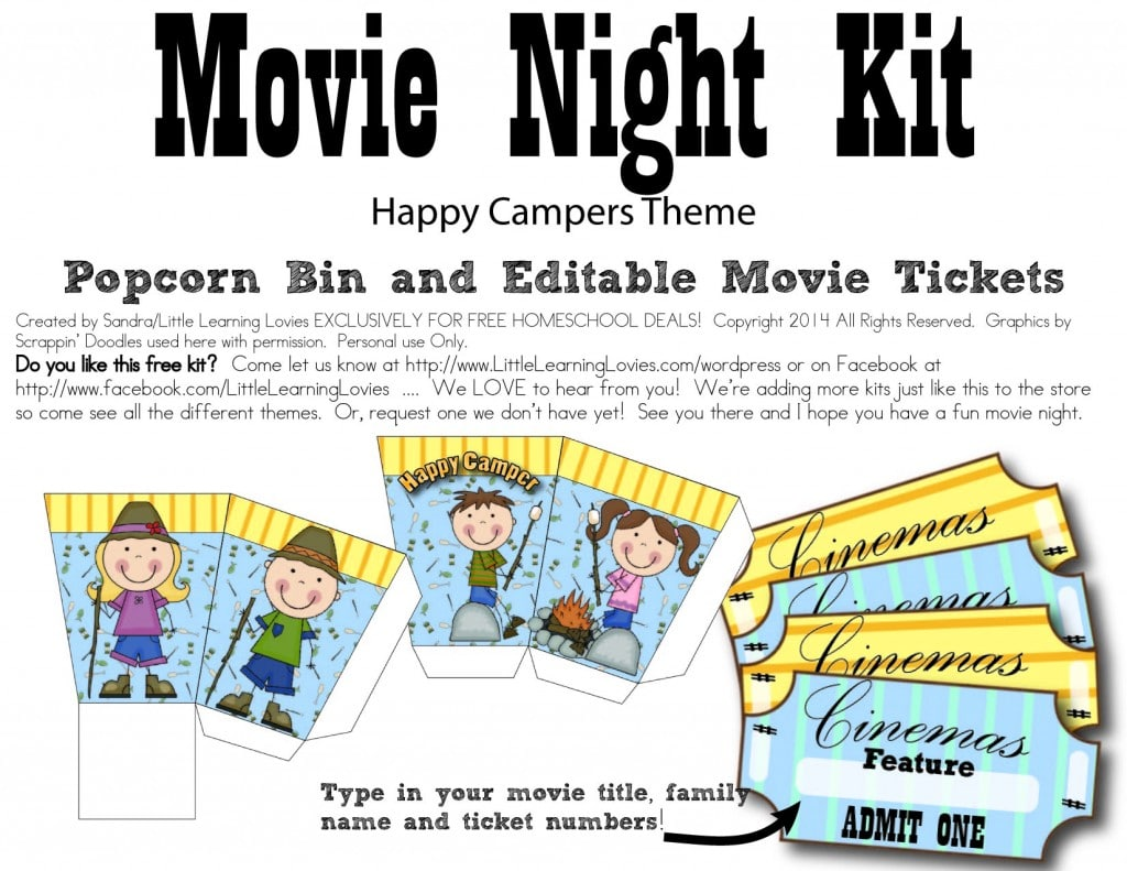 Happy Campers Themed Movie Night Fun Kit