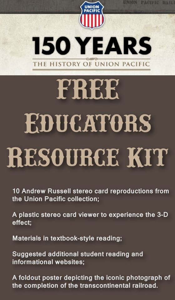 Get a FREE Resource Kit from the Union Pacific Railroad.  All educators welcome (homeschoolers too!)