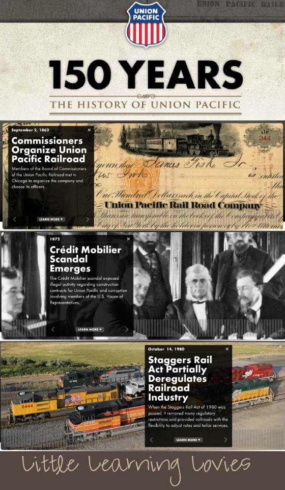 Beautifully done online history timeline through the Union Pacific Railroad plus a free resource kit!
