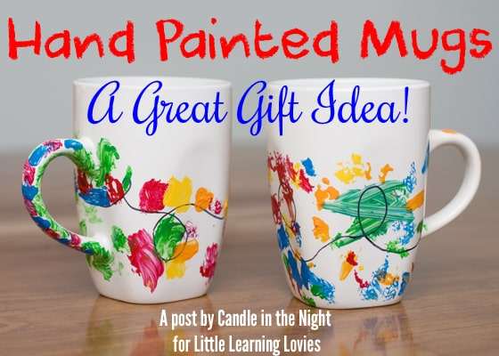 These hand painted mugs are a great gift idea for grandparents, aunts and uncles, or even teachers!