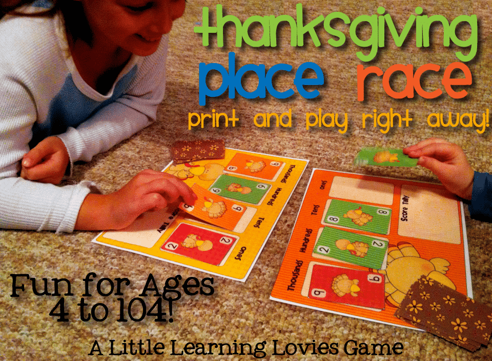 Thanksgiving Place Race is a fast action, exciting place value game that the WHOLE FAMILY will love to play together!  We use this for Family game Night and everyone gets excited to see it (even DAD!)  SUPER quick to print and play. Worth every drop of ink!