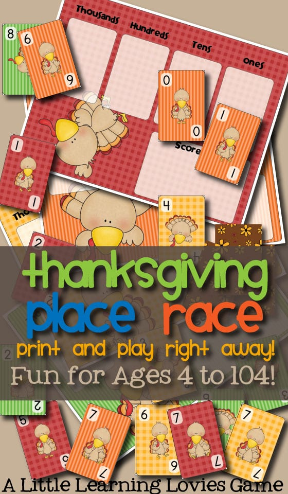 Thanksgiving Place Race is a Family Game Night game that's truly fun for the WHOLE FAMILY!