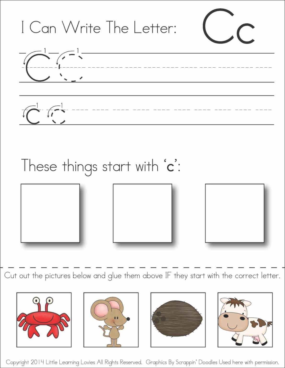 worksheet Cut And Paste Worksheet subscriber exclusive freebie letter c write cut paste free and past printable worksheet from little learning lovies enjoy