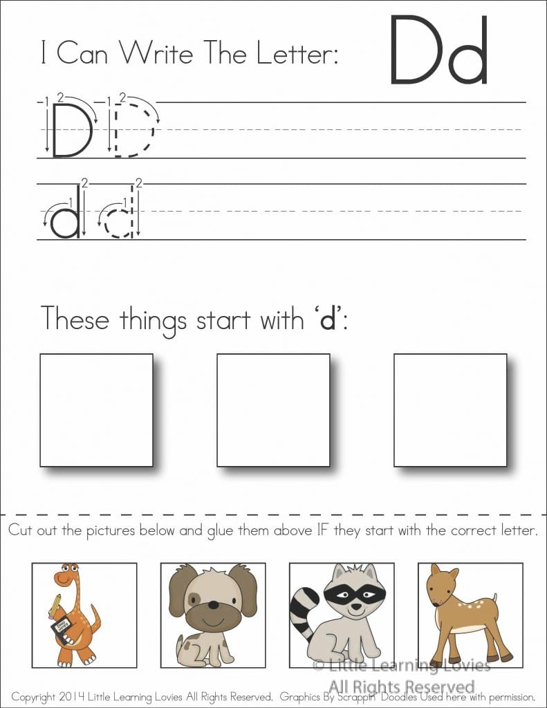 worksheet Cut And Paste Worksheet subscriber exclusive freebie letter d write cut paste and worksheet free from little learning lovies