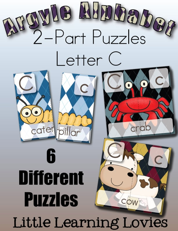 Letter C Two Part Puzzles. 6 Puzzles for the letter C. Subscriber exclusive freebie from Little Learning Lovies!