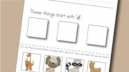 Free - Letter D Write, Cut and Paste Activity Worksheet from Little Learning Lovies