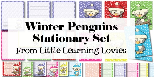 Winter Penguin Stationary Set - A Frugal gift you can print and make at home! From little Learning Lovies