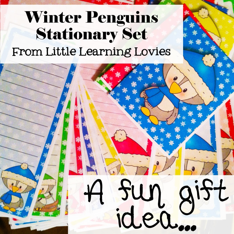 Winter Penguin Stationary Set Printable - A Cute, Frugal gift idea from Little Learning Lovies