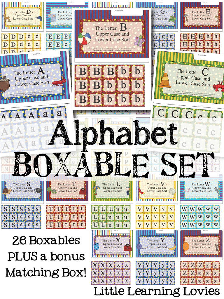 Alphabet File Folder Games - BOXABLES - A whole set of alphabet sorting fun from Little Learning Lovies (26 games, plus a bonus exclusive box to hold them all!)