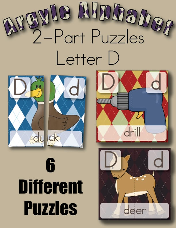 Argyle Alphabet 2 Part Puzzles for Letter D from Little Learning Lovies Subscriber Freebie