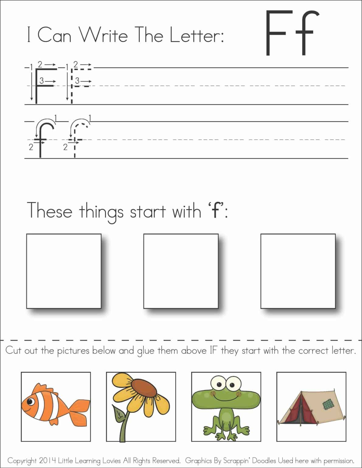 Worksheets Cut And Paste Alphabet Worksheets subscriber exclusive freebie letter f write cut paste little learning lovies