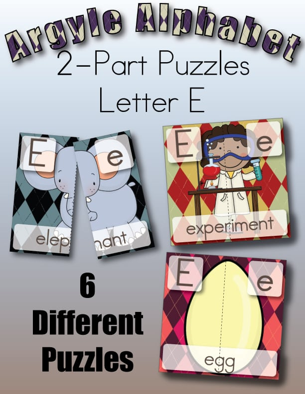 Subscriber Exclusive Freebie Letter E Two Part puzzles from Little Learning Lovies.