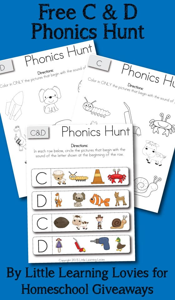 Free Phonics Hunt Set for letters C and D.