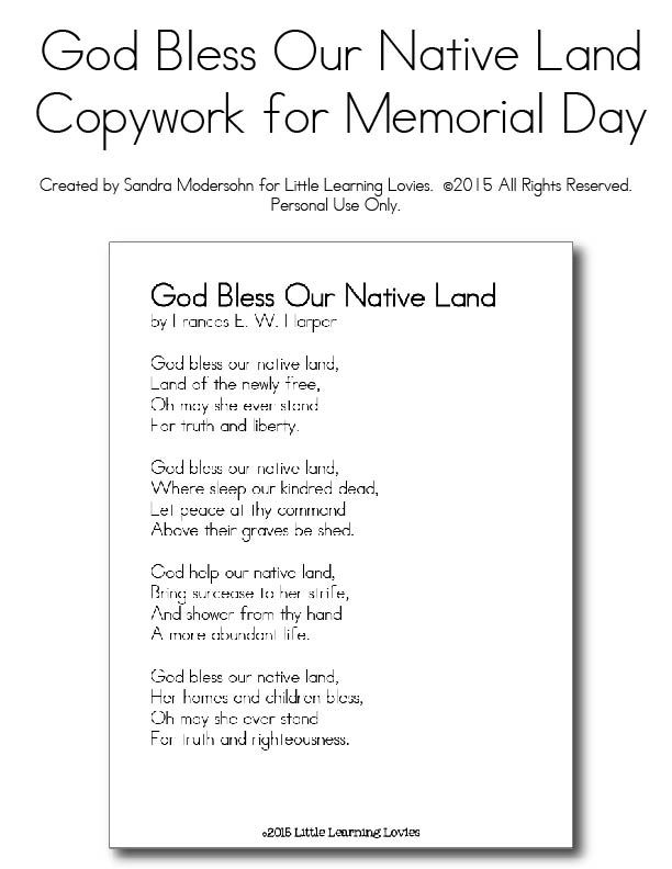 God Bless Our Native Land - Copywork from Little Learning Lovies - Memorial Day-01