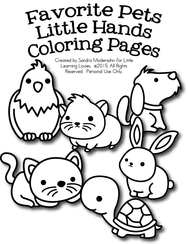 coloring pages favorite pets for little hands free for now - 4 Year Old Coloring Pages