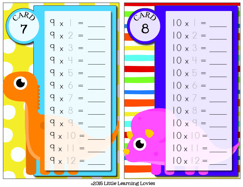 FillTheCard-Multiplication-Dino Theme-Level1_Cards 7 and 8