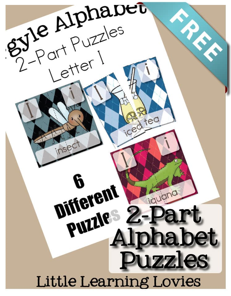 FREE Letter I 2 Part Puzzles from Little Learning Lovies makes learning fun (and FREE!)