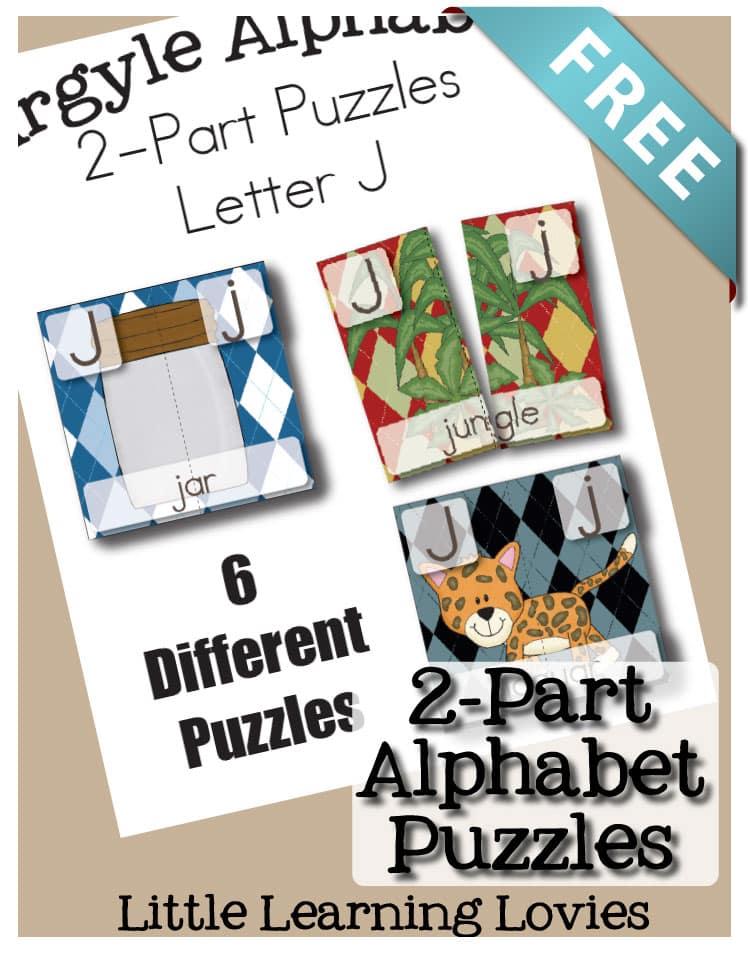 Letter J 2 part puzzles two part puzzles