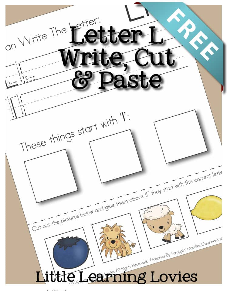 Letter L Write Cut and Paste Preschool Kindergarten Activity for Phonics, handwriting fine motor skills and more