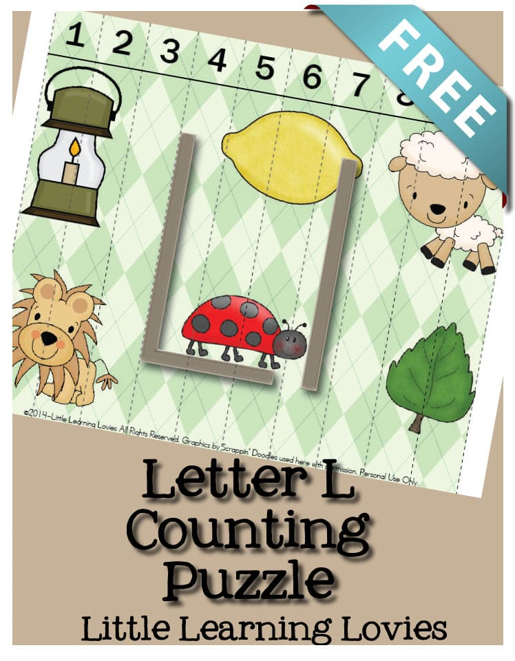 Letter L Sounds Of L Counting Puzzle FREE from Little Learning Lovies!