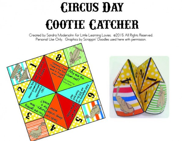 Circus Themed Cootie Catcher - Free! Perfect addition to your circus party. You can use this as a craft during your party or you can make them ahead of time and use them as a party favor. Have fun!