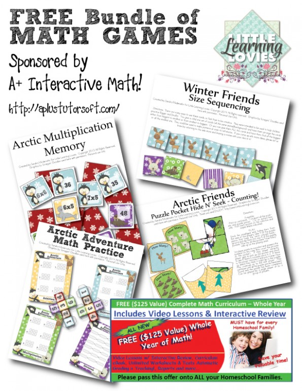 BIG BUNDLE of FREE printable math games for PreK through 4th grade. Created by Little Learning Lovies and sponsored by A+ Interactive Math, you get to have these completely free. Just print and play right away!