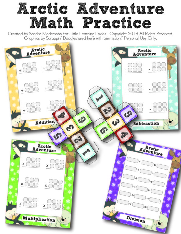 ArcticAdventure_MathPractice_LLL-01 - Fun printable game for math fact mastery!