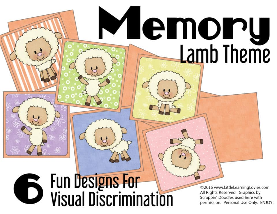 FREE memory game in our Preschool Printable pack with a lamb theme! from Little Learning Lovies