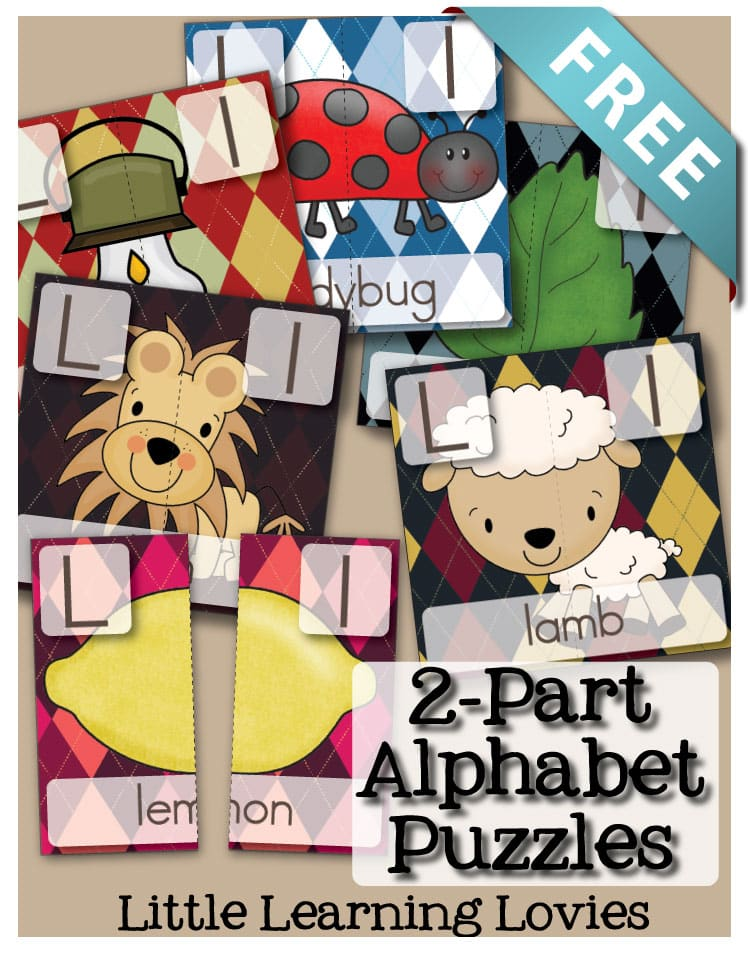 FREE 2 part puzzles for Prek and Kindergarten literacy. Phonics games like this are great for teaching and reinforcing reading skills.