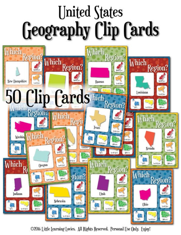 Geography clip cards - find the region from Little Learning Lovies