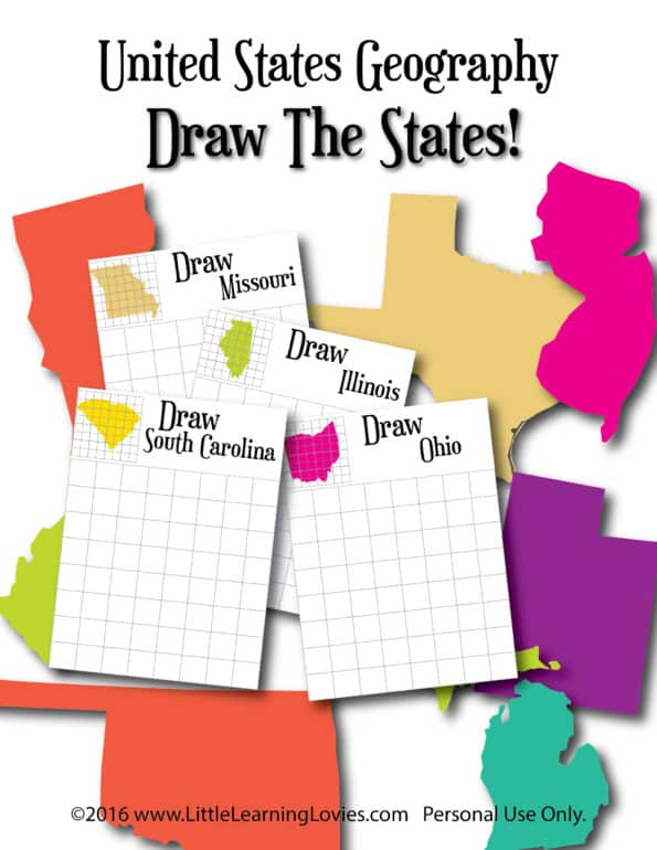 "Geography ""Draw The States"" from Little Learning Lovies"