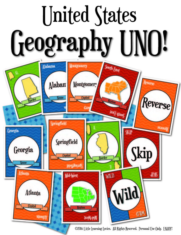 Geography Uno from Little Learning Lovies