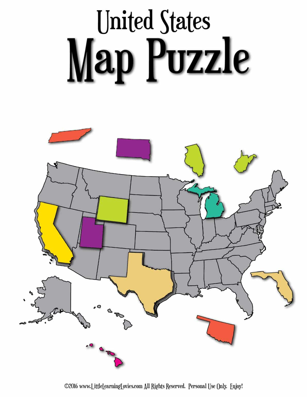 US Geography Resource Bundle Little Learning Lovies - Us states map puzzle game
