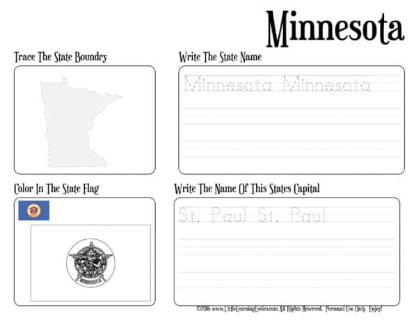 WriteAndTrace-NamesCapitalsBoundriesAndFlags-US-States_Minnesota