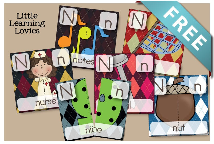 Letter N Two part Puzzles for Phonics learning, spatial reasoning, coordination and so much more! FREE!