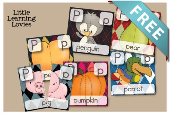 Letter P Two Part Puzzles - FREE learning fun for your preschool phonics learner.