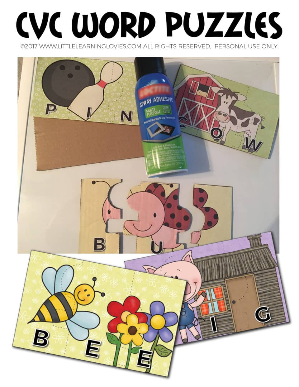 CVC Word Puzzles - FREE from Little Learning Lovies - Print and play right away!