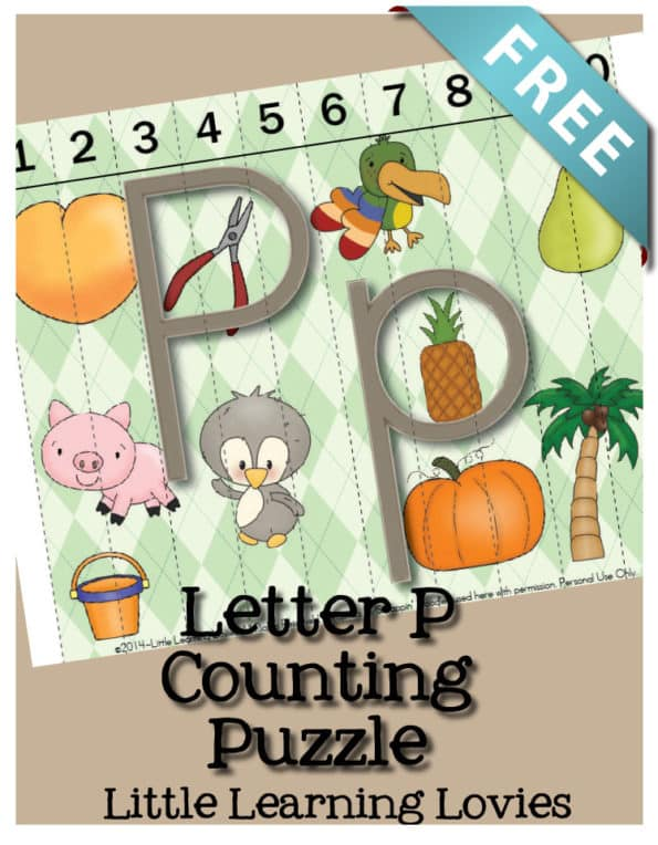 Letter P Sounds of P Counting Puzzle Strip Puzzle. Use this puzzle to teach letter P phonics, beginning sounds, counting and more! FREE!