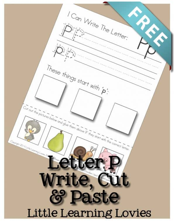 Free Write Cut and Paste Letter P worksheet activity.