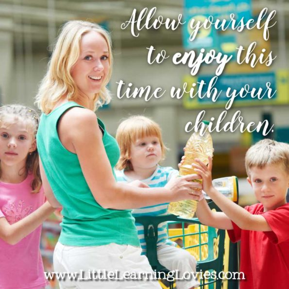 How to actually enjoy grocery shopping with your kids. Let yourself enjoy it! Be joyful. Your kids will be, too!