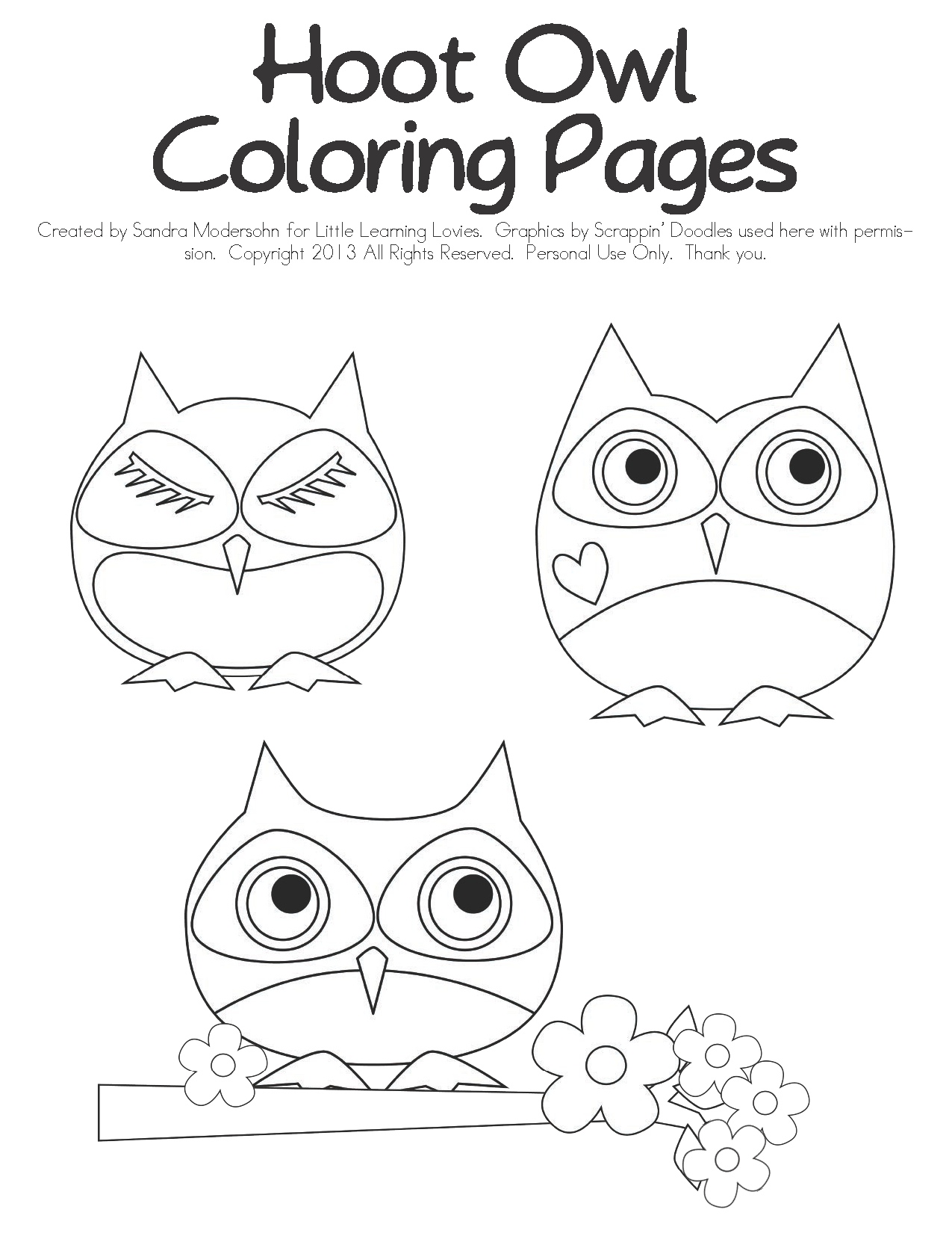 Owls - Coloring Pages - Little Learning Lovies