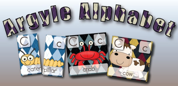 Argyle Alphabet 2 Part Puzzles Letter C from Little Learning Lovies a Subscriber Exclusive Freebie!