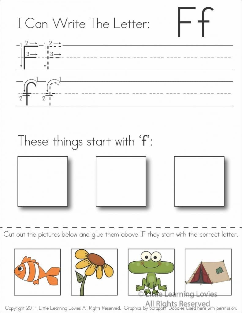 Letter F Write Cut & Paste FREE Activity!