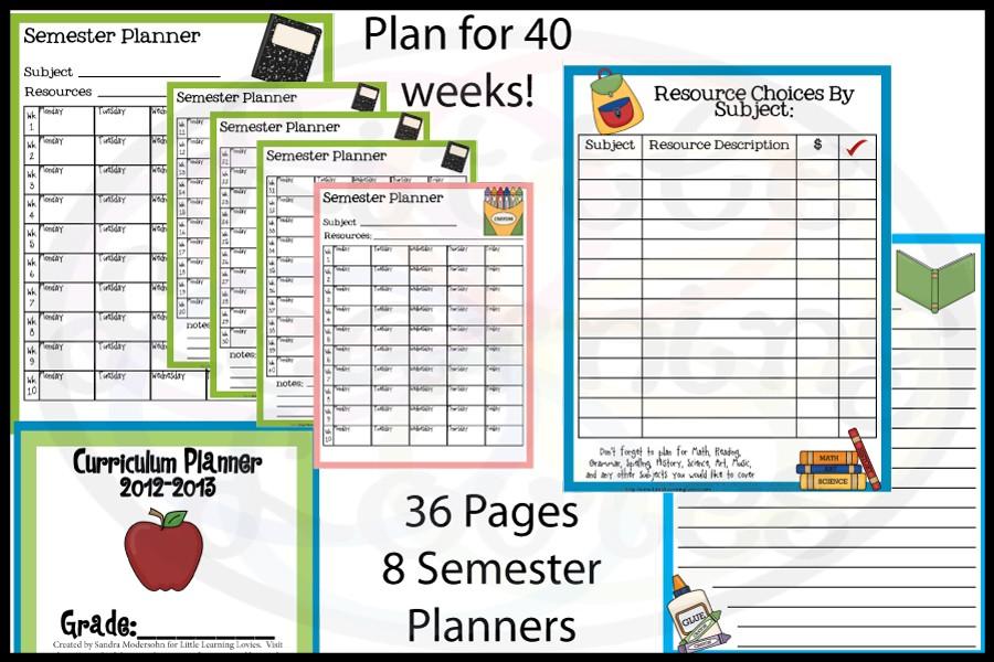 Free Curriculum Planner for Homeschool Planning