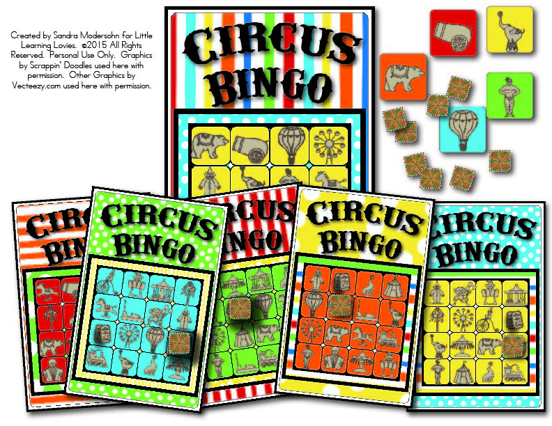 Free Kids printable Circus bingo is perfect for a kids birthday party or a circus themed party. Fun to play 'just because' too!