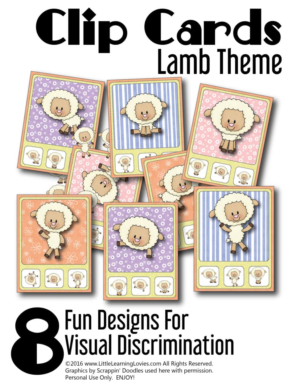 Free clip cards with a lamb theme in our Preschool Printable pack from Little Learning Lovies